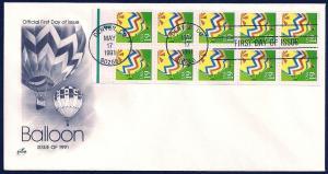 UNITED STATES FDC 19¢ Balloon PANE 1991 ArtCraft