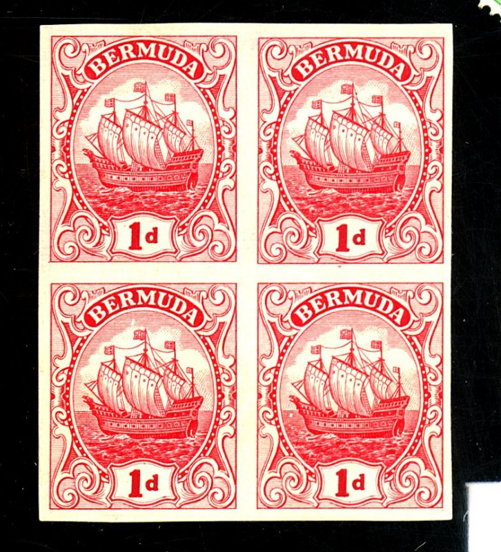 BERMUDA #83 MINT IMPERF BLOCK FVF PROOF