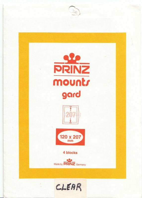 PRINZ CLEAR MOUNTS 120X207 (4) RETAIL PRICE $6.25