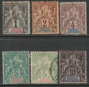 Senegal 1892 Sc 35-40 partial set MNG/used
