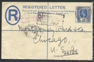 SIERRA LEONE 1929 GV 3d Registered cover to UK, ex MOYAMBA.................57013