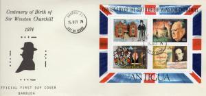 Barbuda 1974 Sc#194a Sir Winston Churchill Souvenir Sheet (1)  Official F.D.C.