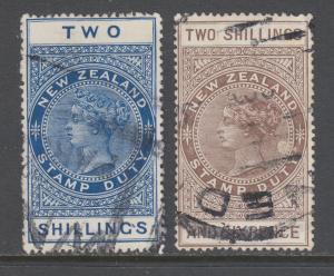 New Zealand Sc AR32, AR33, SG F131, F132. 1903-06 QV Postal Fiscals, 2 diff
