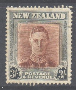 New Zealand Scott 268 - SG389, 1947 George VI 3/- used