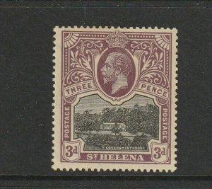 St Helena 1912/6 3d Black/Purple MM SG 77