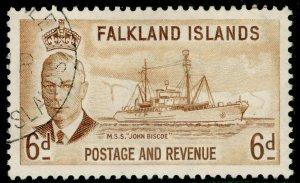 FALKLAND ISLANDS SG178, 6d bistre-brown, FINE USED.