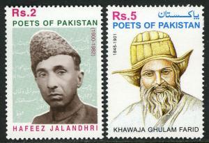Pakistan 961-962, MNH. Poets: Hafeez Jalandhri & Khawaja Ghulam Farid, 2001