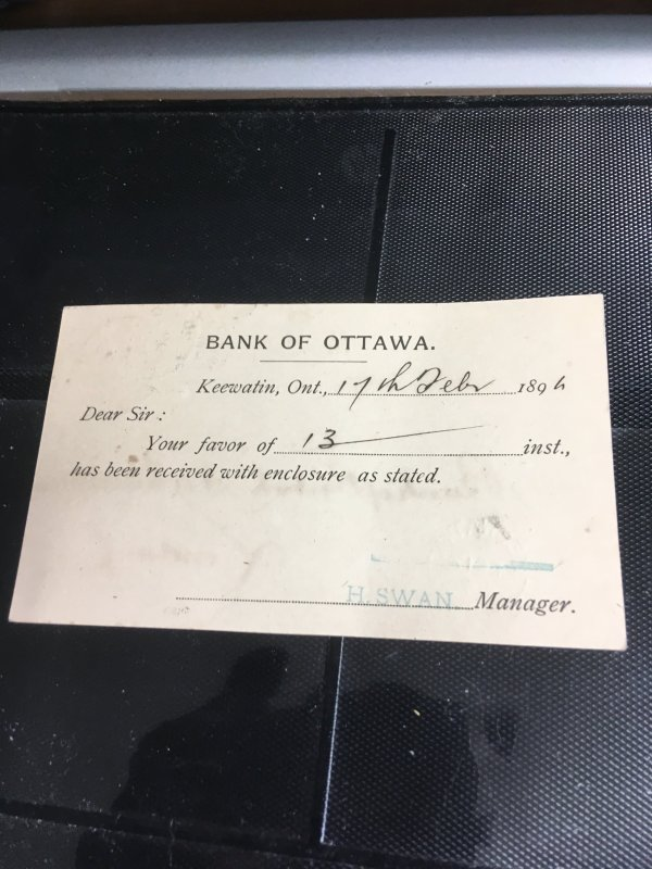 Canada 1894 1c Post Card From Bank of Ottawa Keewatin/Ont. FE 17/94 Split Ring