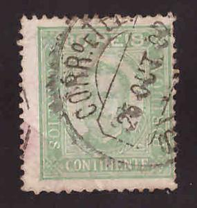 Portugal Scott 74 perf 12.5 King Carlos Used creased nicel cancel and color