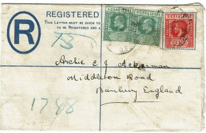 Sierra Leone 1913 Freetown cancel on registry envelope to England, mixed reigns