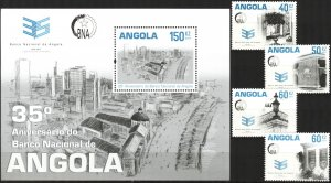 Angola 2011 Architecture Buildings Bank Set of 4 + S/S MNH