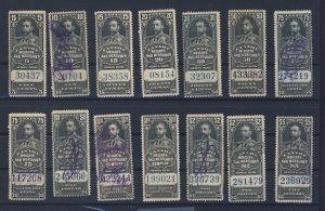 14x Canada Revenue W&M Stamps; #FWM60 to FWM71 w Dup U F/VF Guide Value=$80.50
