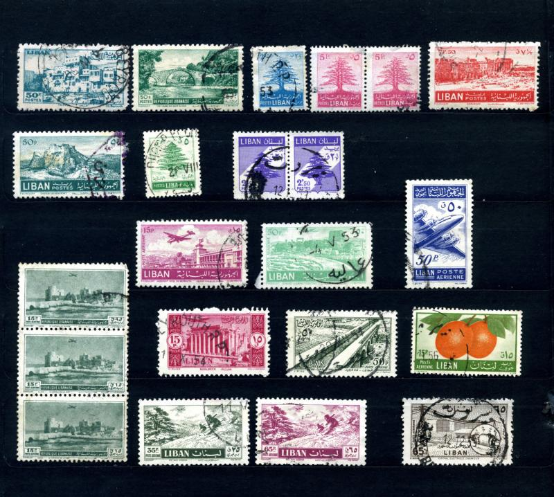 1947-1958 Lebanon Lot of 18 Used General & Air Mail You Grade All Different