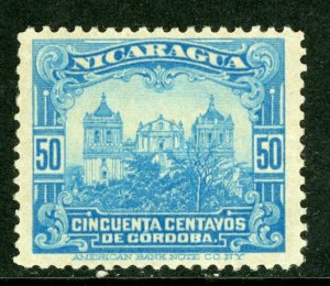 Nicaragua 1914 Cathedral 50¢ Light Blue Flat Printing Mint M464