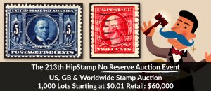 The 213th HipStamp No Reserve Auction Event