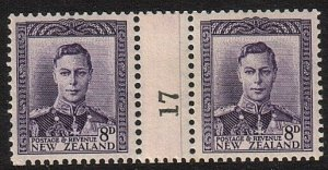 NEW ZEALAND 1938 GVI 8d counter coil pair #17 fine mint....................74952