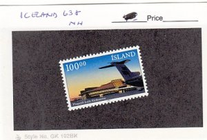 J25771  jlstamps 1987 iceland set of 1 mnh #638 airplane, checked f/condition