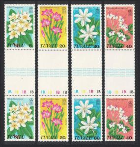 Tuvalu Wild Flowers 4v Vert Gutter Pair 1978 MNH SG#101-104