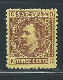 Sarawak 2c Sir Charles Brooke single MNH Writing on Back