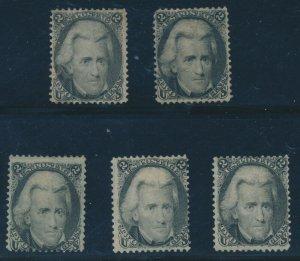 #73 2c 1863 BLACKJACK F-VF (2) UNUSED (3) OG CV $1,450 AU1070