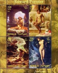 Somalia 2004 Edward Poynter Nudes Paintings 4v Mint Souvenir Sheet S/S. (#01)