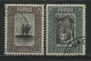 Papua 1932 1/3d and 2/ used