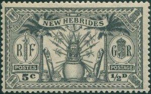 New Hebrides 1925 SG43 ½d 5c black Weapons Idols MLH