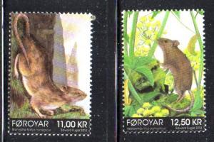 Faroe Islands Sc 605-6 2013 Rodents stamp set mint NH