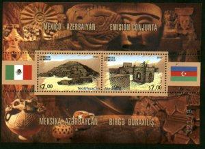 MEXICO 2699, AZERBAIJAN JOINT ISSUE ANCIENT TEMPLES, SOUVENIR SH. MINT, NH. VF.