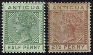 ANTIGUA 1882 QV 1/2D AND 21/2D WMK CROWN CA