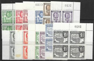 SOMALILAND SG93/104 1938 DEFINITIVE SET MNH BLOCKS OF 4