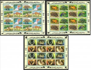 United Nations New York 1997,2006, 2007 - endangered species, 3 x sheet, MNH