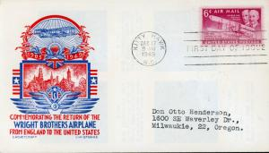 US FDC #C45 M 8 6c Wright Brothers   Cachet Craft - Staehle Cachet (3821)