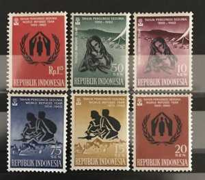 Indonesia 1960 #488-93, World Refugee Year, MNH, CV 1.50