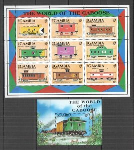K0837 GAMBIA TRANSPORT HISTORY TRAINS THE WORLD OF THE CABOOSE 1KB+1BL MNH