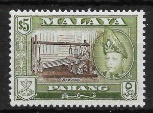 MALAYA PAHANG SG86b 1962 $5 BROWN & YELLOW-OLIVE p13x12 MTD MINT