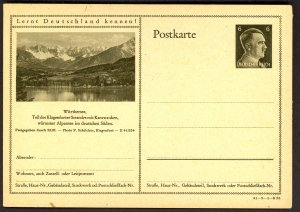 GERMANY 1941 6pf HITLER HEAD Learn to Know Germany Postal Card 41-3-1-B26 Unused