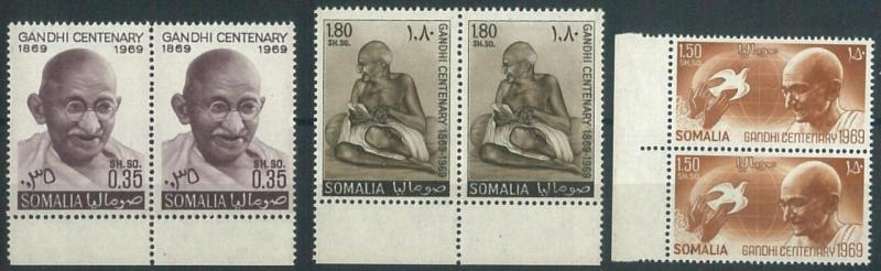 70688 -  SOMALIA - STAMPS - Ghandi 1969 - PAIR with sheet border MNH