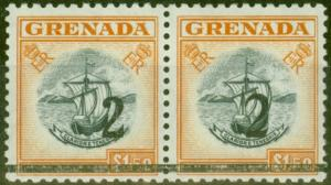 Grenada 1965 2 on $1.50 Black & Orange Setting A & B in a V.F Mtd Mint Pair