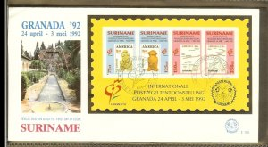 1992 - Rep. Surinam FDC E155 - Exhibitions - Philatelic exhibition - Granada ...