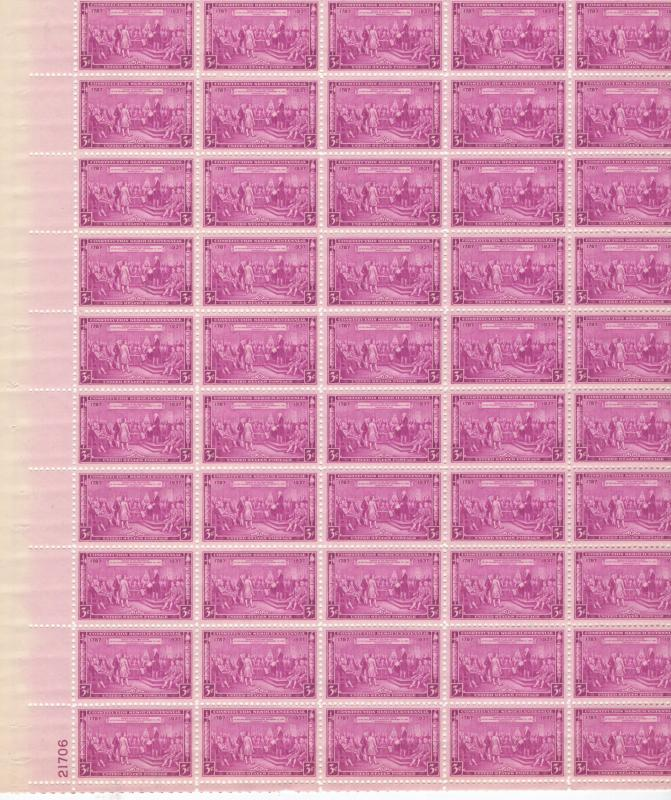 United States US Stamps 1937 Constitution 150 Anniv.Full Sheet Scott 798 MNH