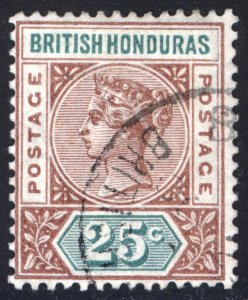 Br Honduras 1898 25c Red Brown & Green Scott 46 SG 61 VFU Cat $160