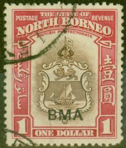 North Borneo 1945 $1 Brown & Carmine SG332 Fine Used