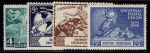 BRITISH HONDURAS GVI SG172-175, anniversary of UPU set, M MINT.