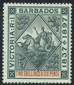 BARBADOS 1897 QV JUBILEE 2/6 WHITE PAPER