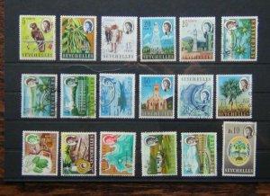 Seychelles 1962 - 1968 set to 10r Used SG196 - SG212