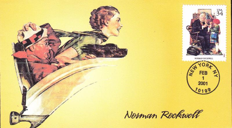 Norman Rockwell 'Saturday Evening Post' Full Color Cachet FDC