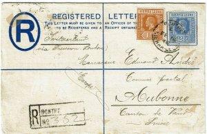 Sierra Leone 1916 Bonthe cancel on registry envelope to Switzerland