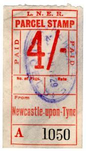 (I.B) London & North Eastern Railway : Parcel Stamp 4/- (Newcastle)
