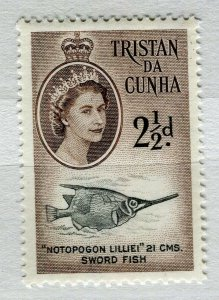 TRISTAN DA CUNHA; 1950s early QEII issue fine Mint hinged 2.5d. value